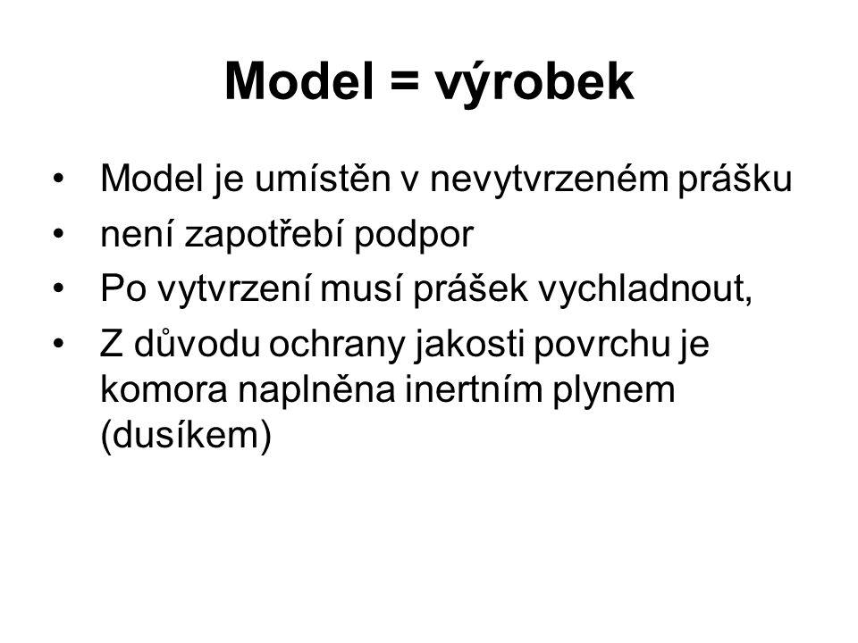 Model = výrobek Model je umístěn v nevytvrzeném prášku není zapotřebí podpor Po vytvrzení musí prášek vychladnout, Z důvodu ochrany jakosti povrchu je