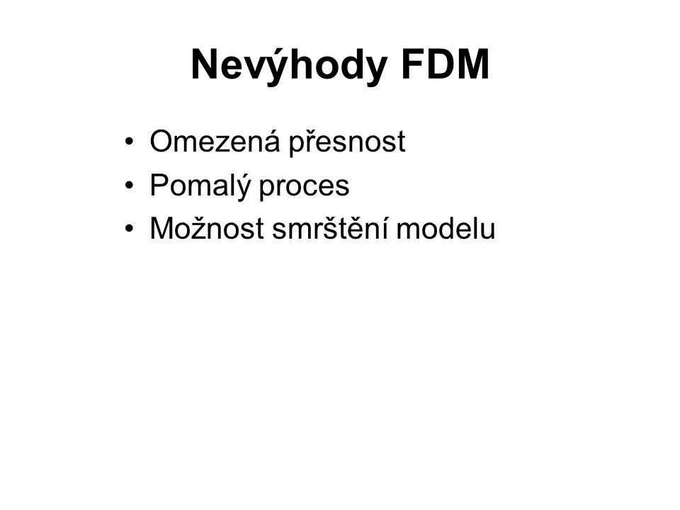 Nevýhody FDM Omezená přesnost Pomalý proces Možnost smrštění modelu