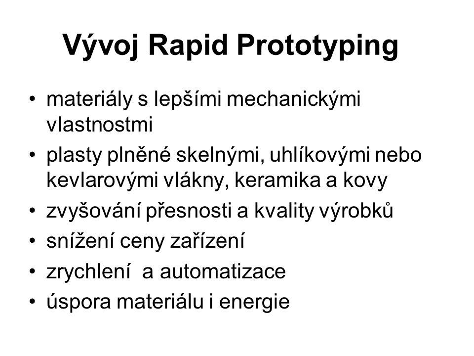 Vývoj Rapid Prototyping materiály s lepšími mechanickými vlastnostmi plasty plněné skelnými, uhlíkovými nebo kevlarovými vlákny, keramika a kovy zvyšo