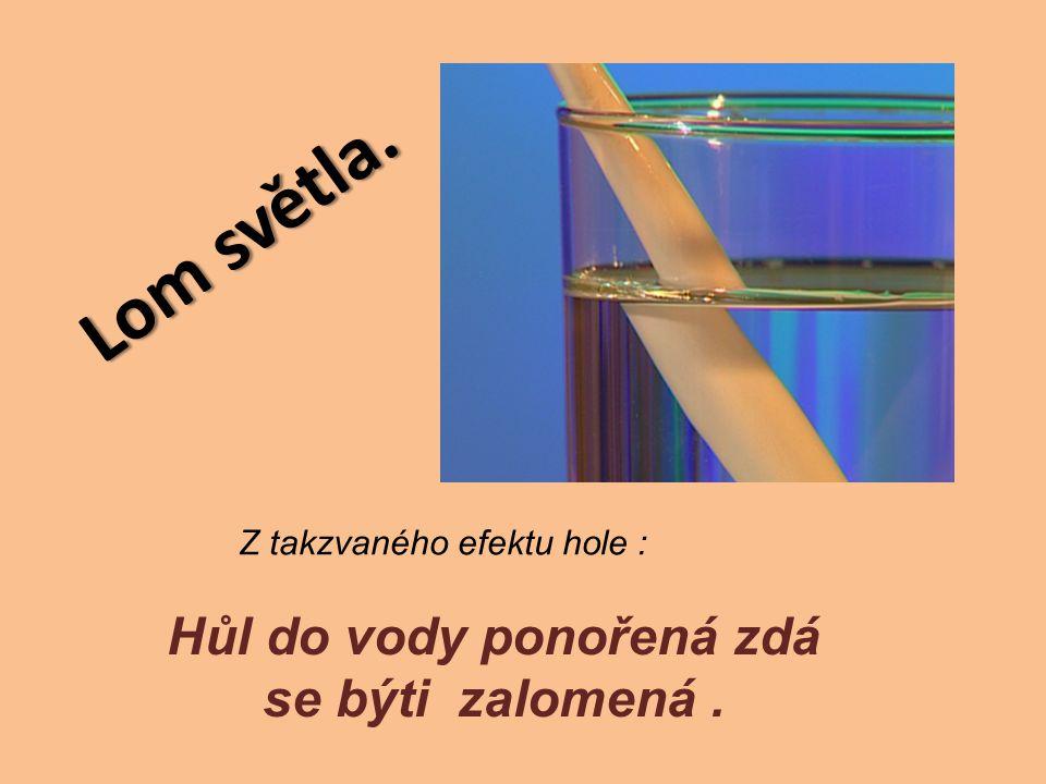 Lom světla. Hůl do vody ponořená zdá se býti zalomená. Z takzvaného efektu hole :