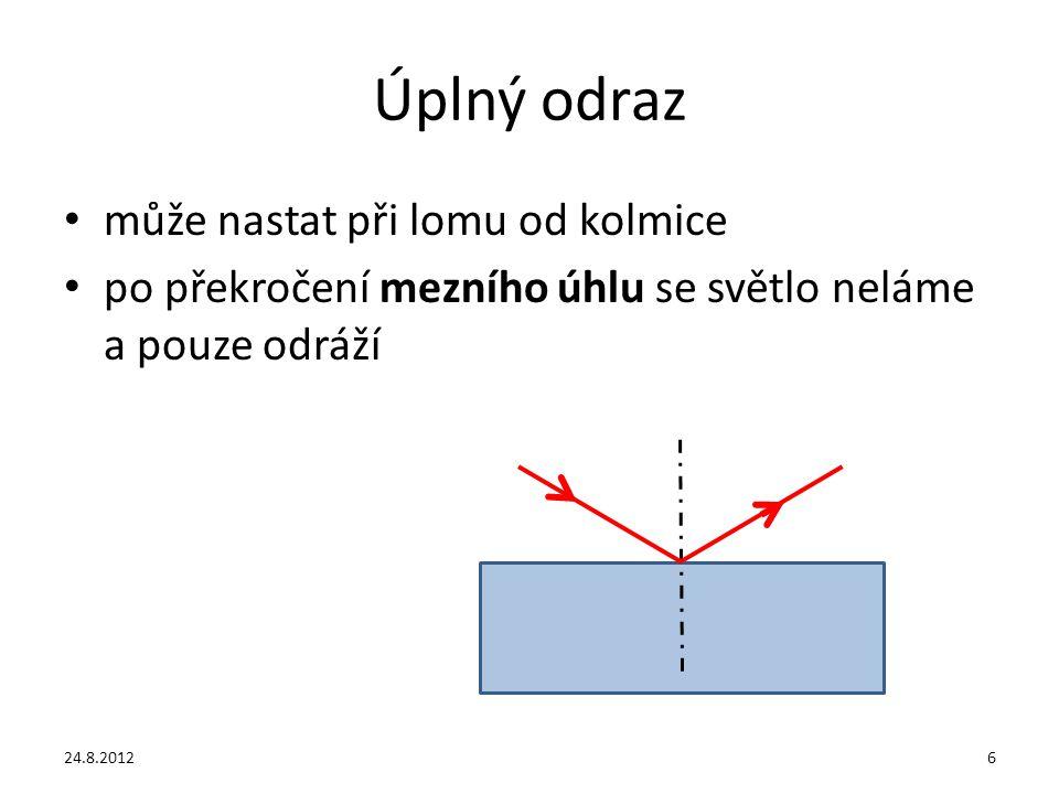 Úplný odraz může nastat při lomu od kolmice po překročení mezního úhlu se světlo neláme a pouze odráží 24.8.20126