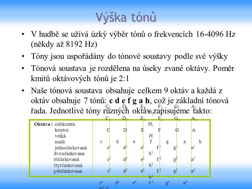 V hudbě se užívá úzký výběr tónů o frekvencích 16-4096 Hz (někdy až 8192 Hz) Tóny jsou uspořádány do tónové soustavy podle své výšky Tónová soustava j