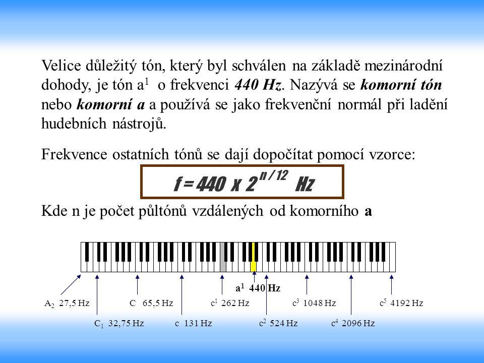 Velice důležitý tón, který byl schválen na základě mezinárodní dohody, je tón a 1 o frekvenci 440 Hz. Nazývá se komorní tón nebo komorní a a používá s