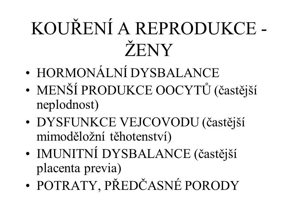 KOUŘENÍ A REPRODUKCE - ŽENY HORMONÁLNÍ DYSBALANCE MENŠÍ PRODUKCE OOCYTŮ (častější neplodnost) DYSFUNKCE VEJCOVODU (častější mimoděložní těhotenství) I