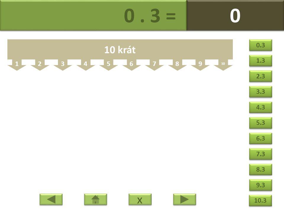 0. 3 = 0 0 123456789 10 10 krát x x 0.3 1.3 2.3 3.3 4.3 5.3 6.3 7.3 8.3 9.3 10.3
