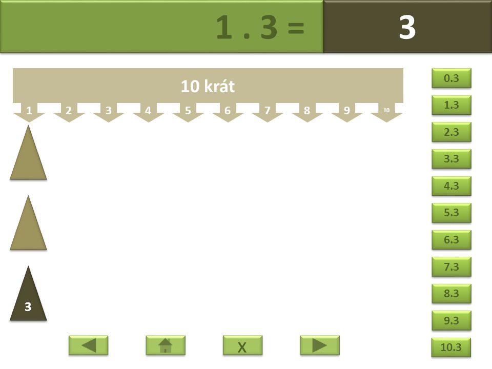 1. 3 = 3 3 123456789 10 10 krát 3 3 x x 0.3 1.3 2.3 3.3 4.3 5.3 6.3 7.3 8.3 9.3 10.3
