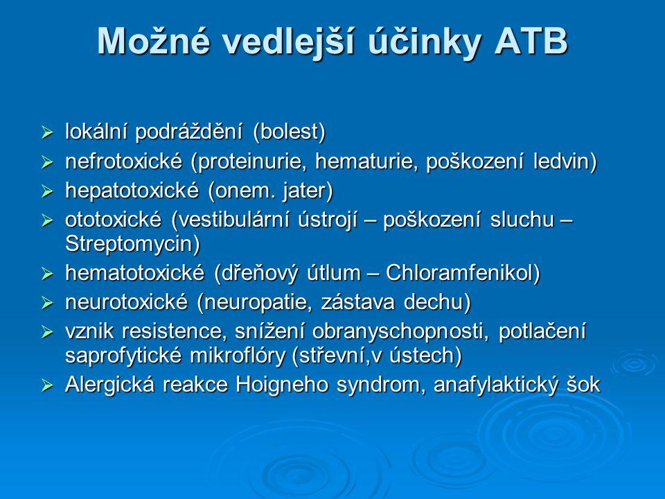 Možné vedlejší účinky ATB  lokální podráždění (bolest)  nefrotoxické (proteinurie, hematurie, poškození ledvin)  hepatotoxické (onem. jater)  otot