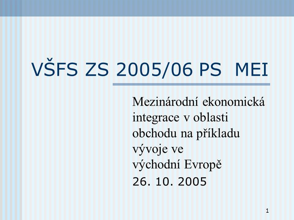 1 VŠFS ZS 2005/06 PS MEI Mezinárodní ekonomická integrace v oblasti obchodu na příkladu vývoje ve východní Evropě 26.