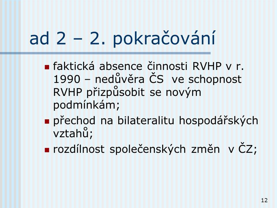 12 ad 2 – 2. pokračování faktická absence činnosti RVHP v r.
