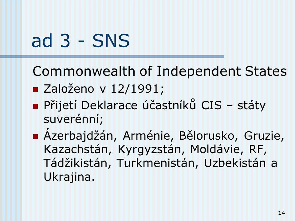 14 ad 3 - SNS Commonwealth of Independent States Založeno v 12/1991; Přijetí Deklarace účastníků CIS – státy suverénní; Ázerbajdžán, Arménie, Bělorusko, Gruzie, Kazachstán, Kyrgyzstán, Moldávie, RF, Tádžikistán, Turkmenistán, Uzbekistán a Ukrajina.
