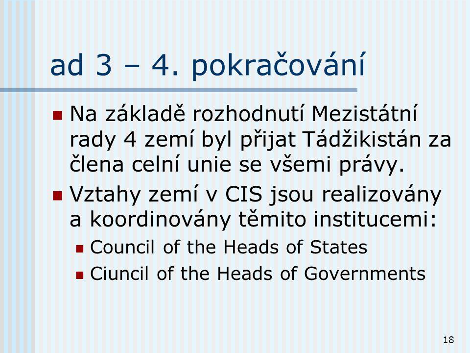 18 ad 3 – 4. pokračování Na základě rozhodnutí Mezistátní rady 4 zemí byl přijat Tádžikistán za člena celní unie se všemi právy. Vztahy zemí v CIS jso