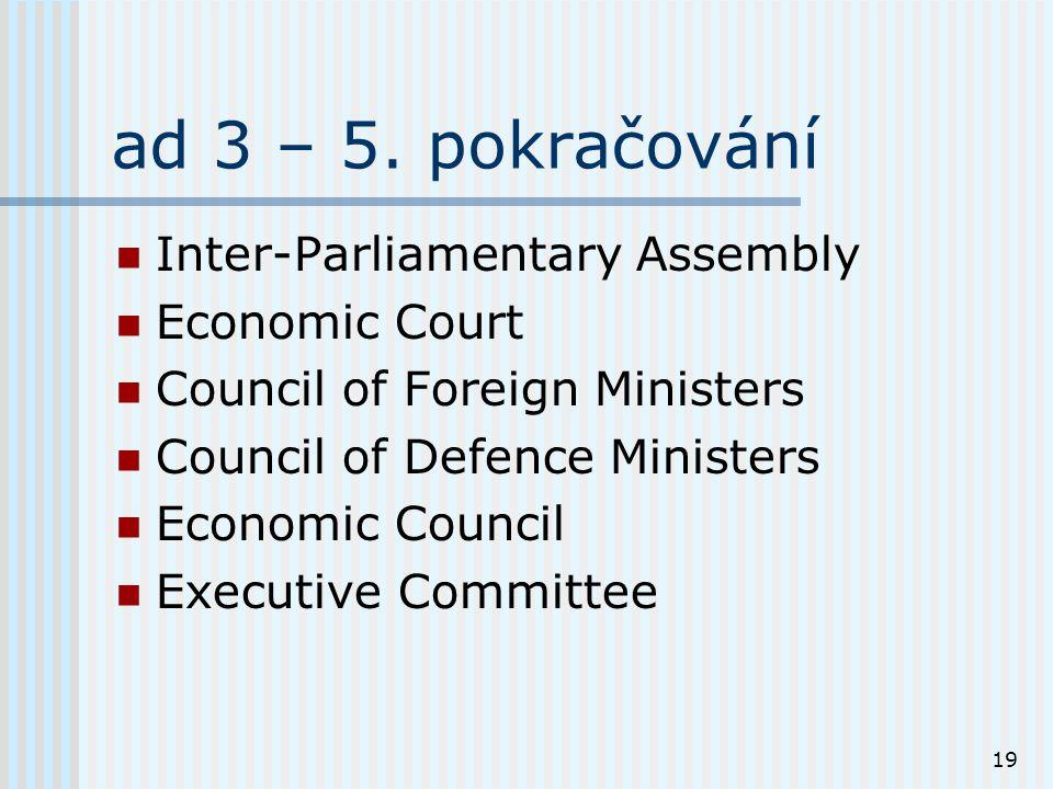19 ad 3 – 5. pokračování Inter-Parliamentary Assembly Economic Court Council of Foreign Ministers Council of Defence Ministers Economic Council Execut