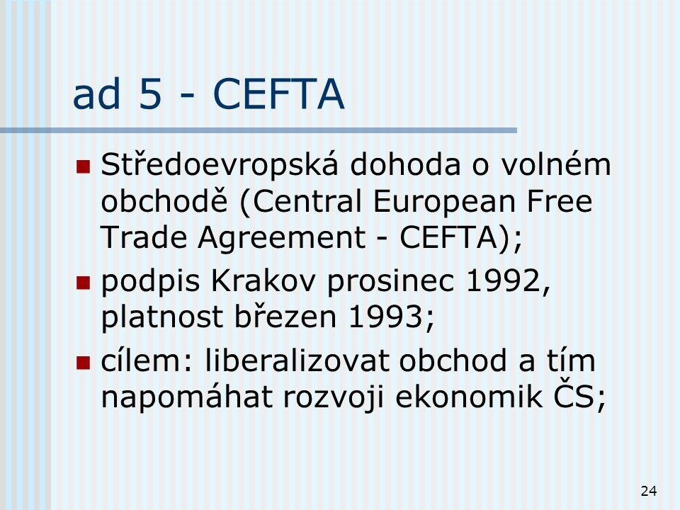 24 ad 5 - CEFTA Středoevropská dohoda o volném obchodě (Central European Free Trade Agreement - CEFTA); podpis Krakov prosinec 1992, platnost březen 1993; cílem: liberalizovat obchod a tím napomáhat rozvoji ekonomik ČS;