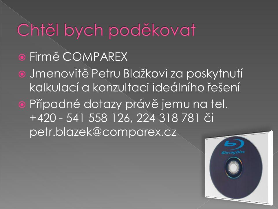  Firmě COMPAREX  Jmenovitě Petru Blažkovi za poskytnutí kalkulací a konzultaci ideálního řešení  Případné dotazy právě jemu na tel.