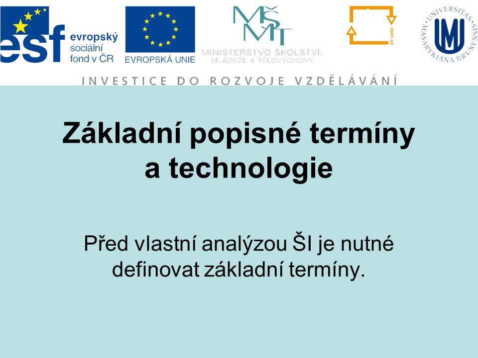 Základní popisné termíny a technologie Před vlastní analýzou ŠI je nutné definovat základní termíny.