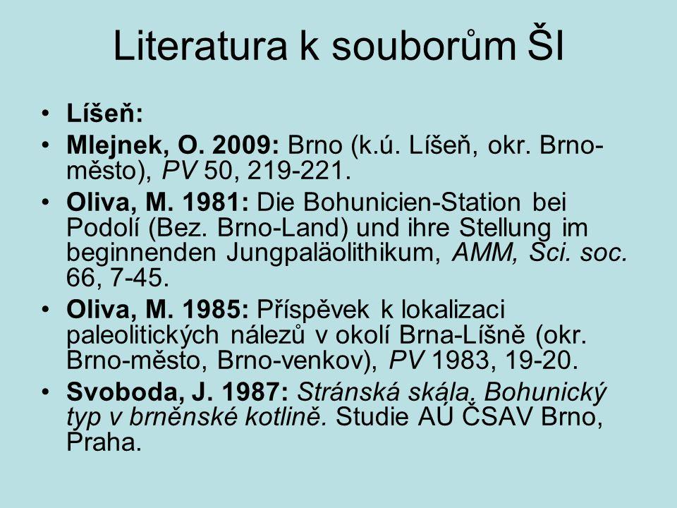 Literatura k souborům ŠI Líšeň: Mlejnek, O. 2009: Brno (k.ú. Líšeň, okr. Brno- město), PV 50, 219-221. Oliva, M. 1981: Die Bohunicien-Station bei Podo