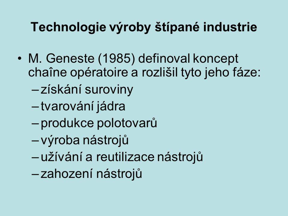 Technologie výroby štípané industrie M. Geneste (1985) definoval koncept chaîne opératoire a rozlišil tyto jeho fáze: –získání suroviny –tvarování jád