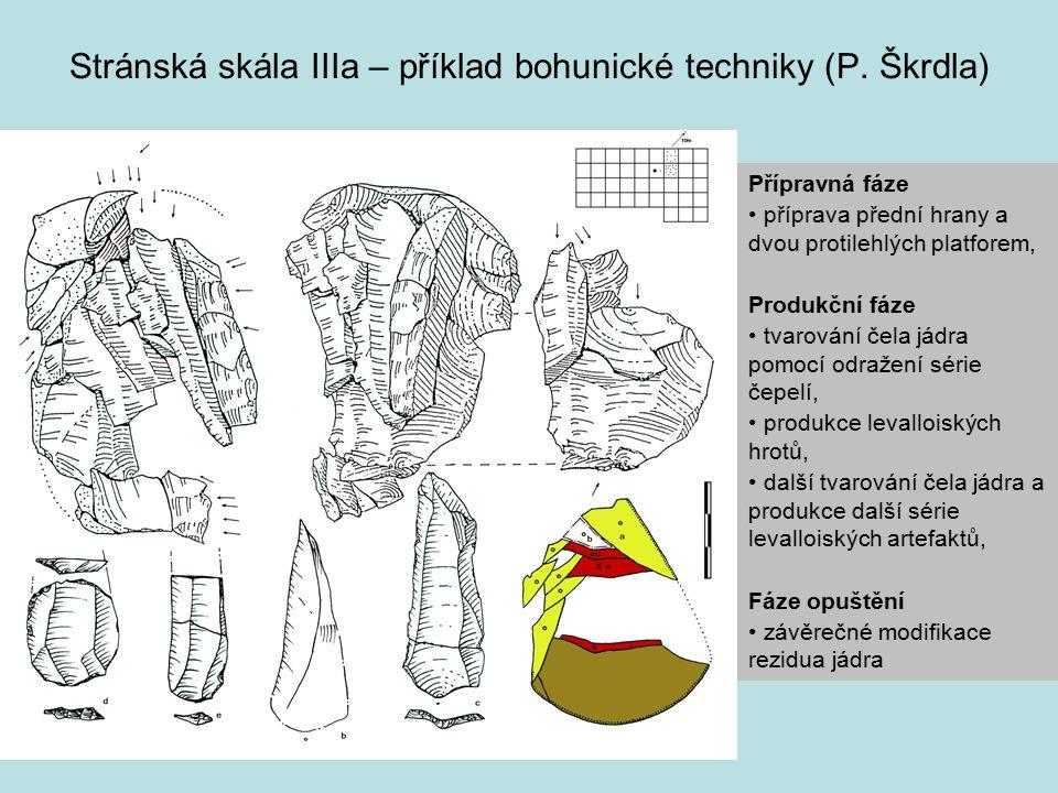 Stránská skála IIIa – příklad bohunické techniky (P. Škrdla) Přípravná fáze příprava přední hrany a dvou protilehlých platforem, Produkční fáze tvarov