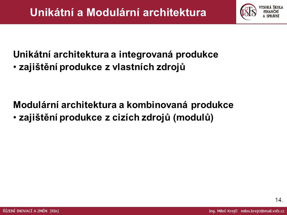 14. Unikátní a Modulární architektura Unikátní architektura a integrovaná produkce zajištění produkce z vlastních zdrojů Modulární architektura a komb