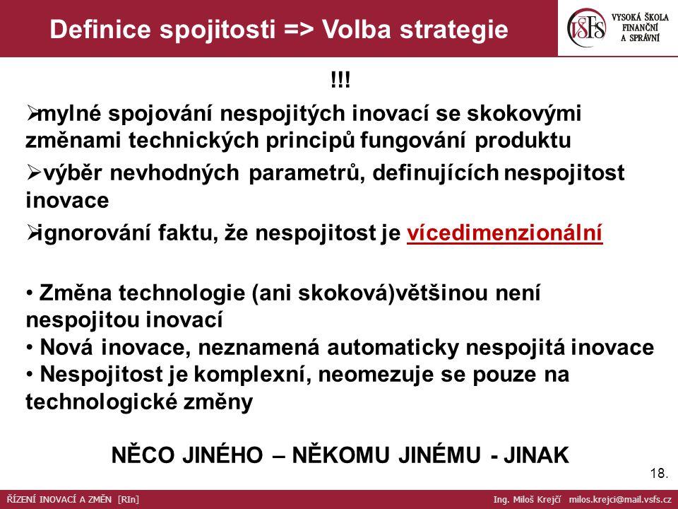 18. Definice spojitosti => Volba strategie !!.