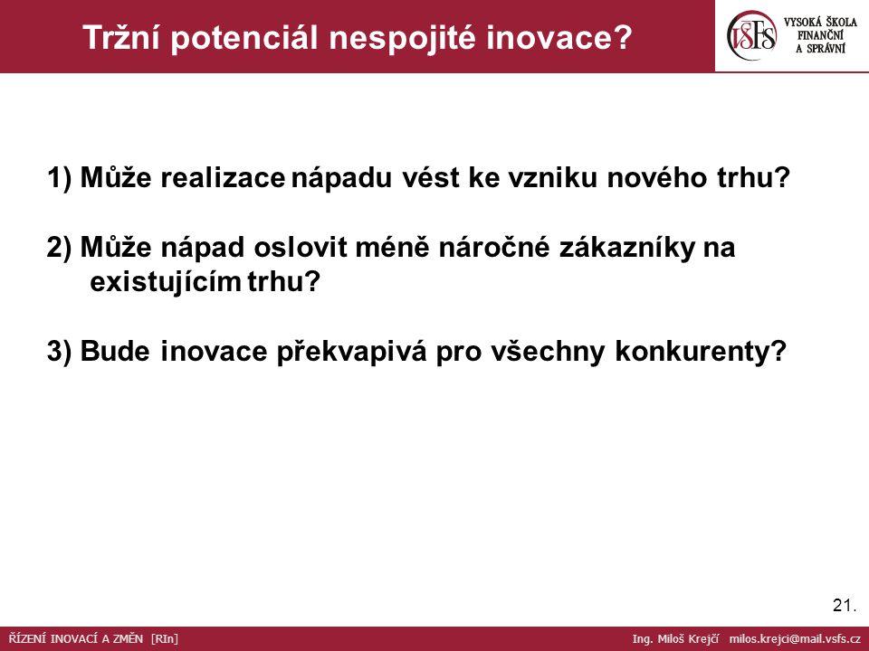 21. Tržní potenciál nespojité inovace. 1) Může realizace nápadu vést ke vzniku nového trhu.