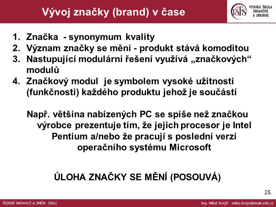 25. Vývoj značky (brand) v čase 1.Značka - synonymum kvality 2.Význam značky se mění - produkt stává komoditou 3.Nastupující modulární řešení využívá
