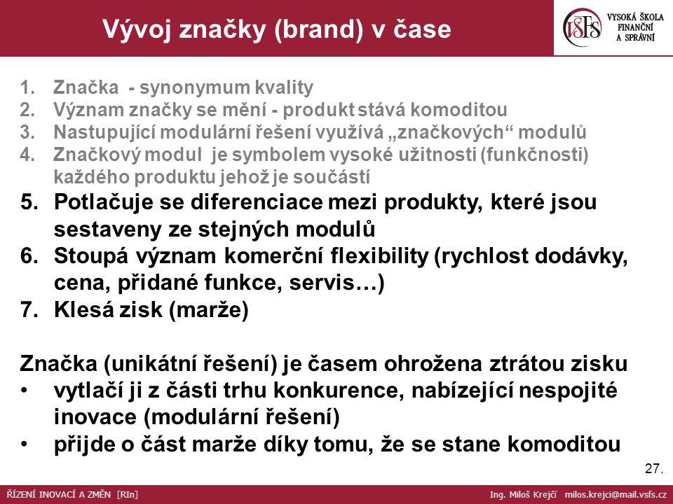 27. Vývoj značky (brand) v čase 1.Značka - synonymum kvality 2.Význam značky se mění - produkt stává komoditou 3.Nastupující modulární řešení využívá