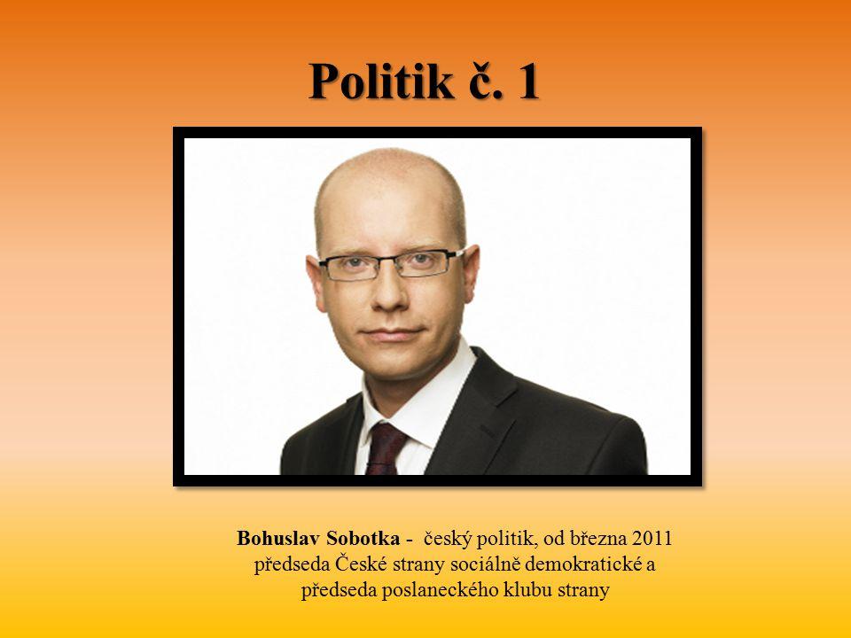 Politik č. 1 Bohuslav Sobotka - český politik, od března 2011 předseda České strany sociálně demokratické a předseda poslaneckého klubu strany