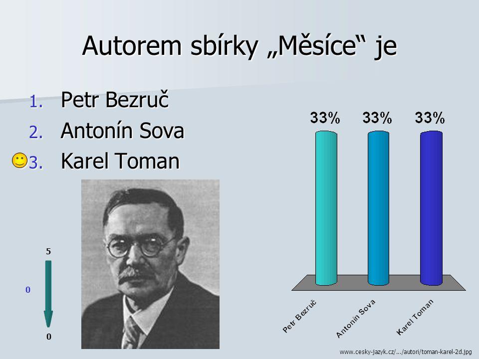 Vl. jménem Antonín Bernášek byl 0 0 5 1. Karel Toman 2. Fráňa Šrámek 3. František Gellner