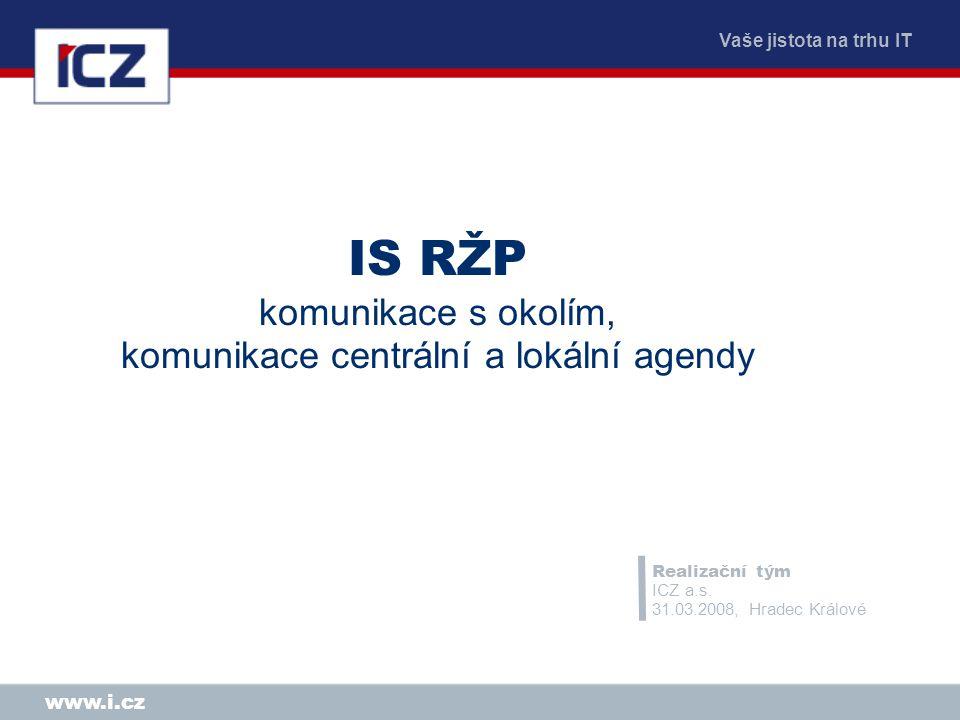 Vaše jistota na trhu IT www.i.cz IS RŽP komunikace s okolím, komunikace centrální a lokální agendy Realizační tým ICZ a.s. 31.03.2008, Hradec Králové