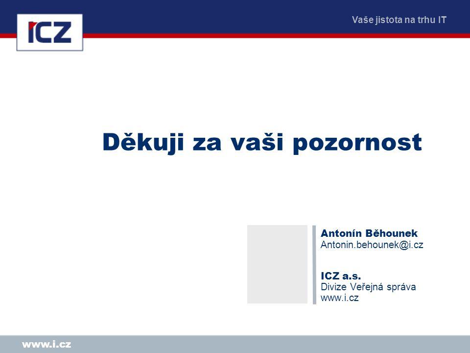 Vaše jistota na trhu IT www.i.cz Děkuji za vaši pozornost Antonín Běhounek Antonin.behounek@i.cz ICZ a.s. Divize Veřejná správa www.i.cz