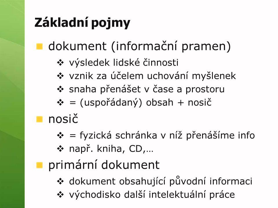 Základní pojmy sekundární dokument  dokument obsahující informaci o primárním dokumentu  např.