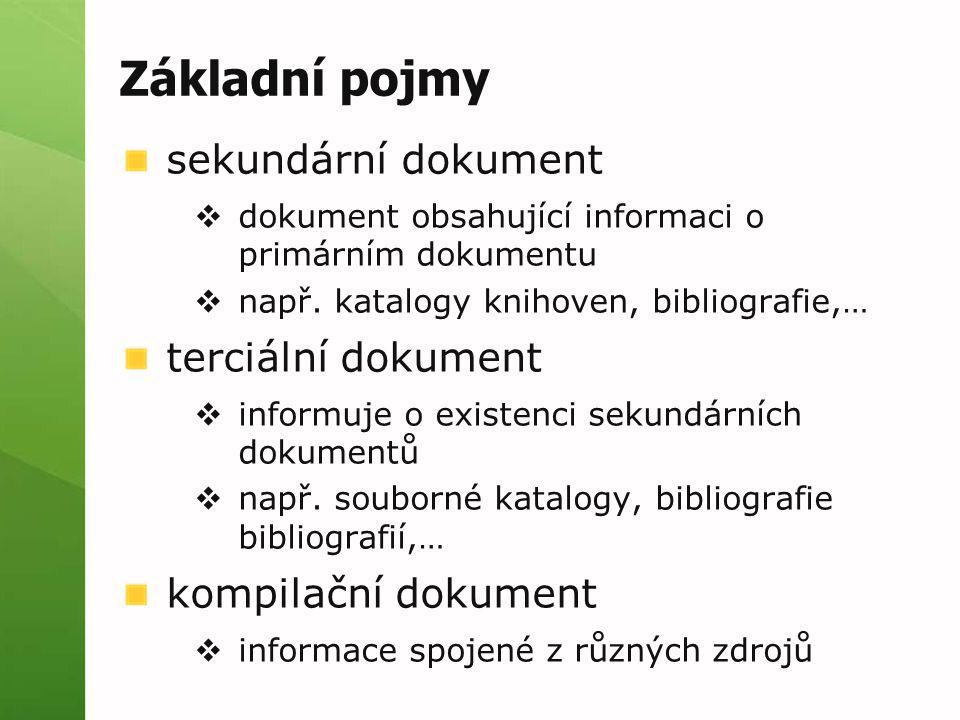 Základní pojmy sekundární dokument  dokument obsahující informaci o primárním dokumentu  např. katalogy knihoven, bibliografie,… terciální dokument