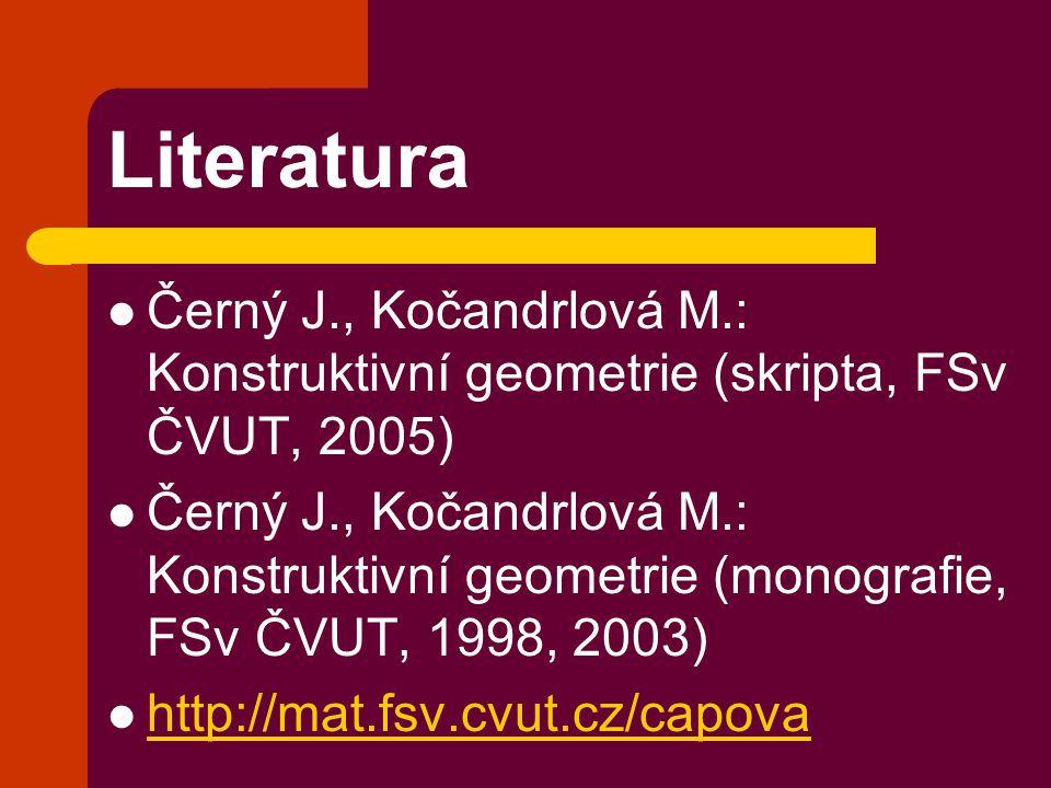 Literatura Černý J., Kočandrlová M.: Konstruktivní geometrie (skripta, FSv ČVUT, 2005) Černý J., Kočandrlová M.: Konstruktivní geometrie (monografie,