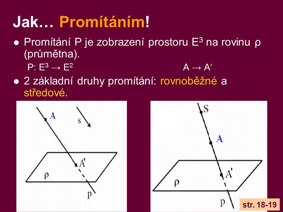 Jak… Promítáním! Promítání P je zobrazení prostoru E 3 na rovinu ρ (průmětna). P: E 3 → E 2 A → A' 2 základní druhy promítání: rovnoběžné a středové.
