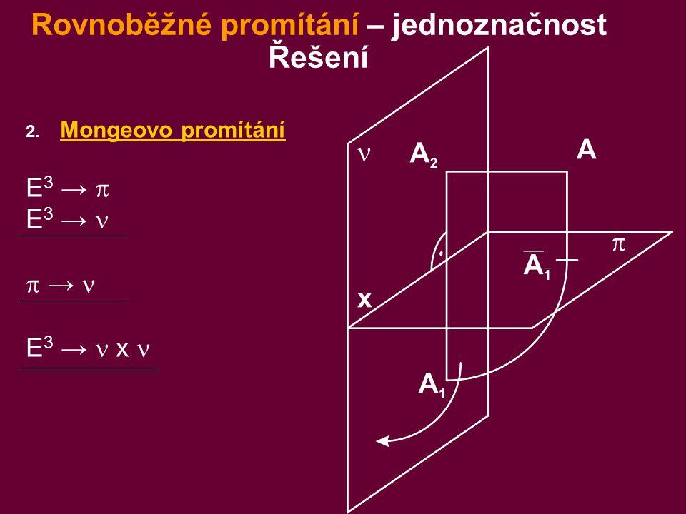 2. Mongeovo promítání E 3 →  E 3 →  → E 3 → x Rovnoběžné promítání – jednoznačnost Řešení