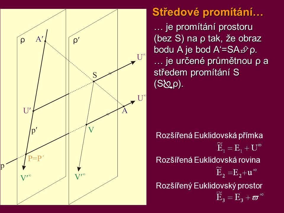 … je promítání prostoru (bez S) na ρ tak, že obraz bodu A je bod A'=SA  ρ. … je určené průmětnou ρ a středem promítání S (S  ρ). Středové promítání…
