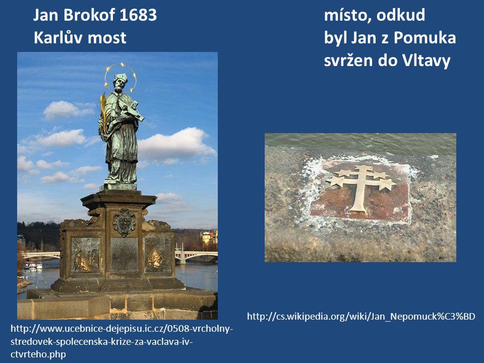 Jan Brokof 1683místo, odkud Karlův mostbyl Jan z Pomuka svržen do Vltavy http://cs.wikipedia.org/wiki/Jan_Nepomuck%C3%BD http://www.ucebnice-dejepisu.
