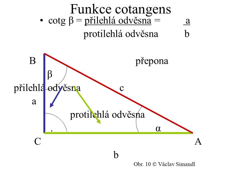 Funkce cotangens cotg β = přilehlá odvěsna = a protilehlá odvěsna b B přepona β přilehlá odvěsna c a protilehlá odvěsna. α C A b Obr. 10 © Václav Sima
