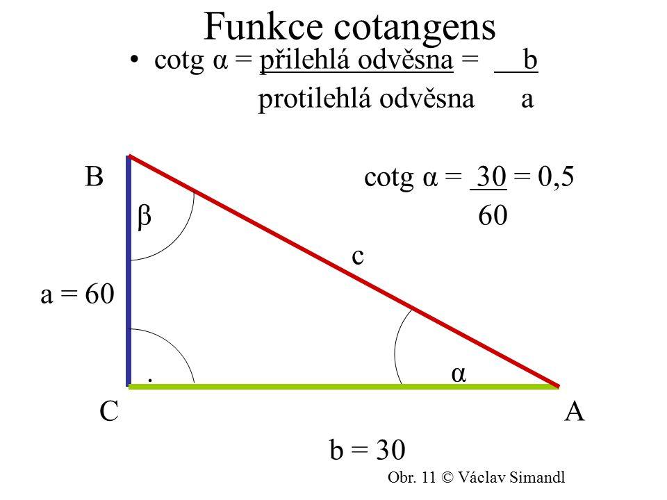 Funkce cotangens cotg α = přilehlá odvěsna = b protilehlá odvěsna a B cotg α = 30 = 0,5 β 60 c a = 60. α C A b = 30 Obr. 11 © Václav Simandl