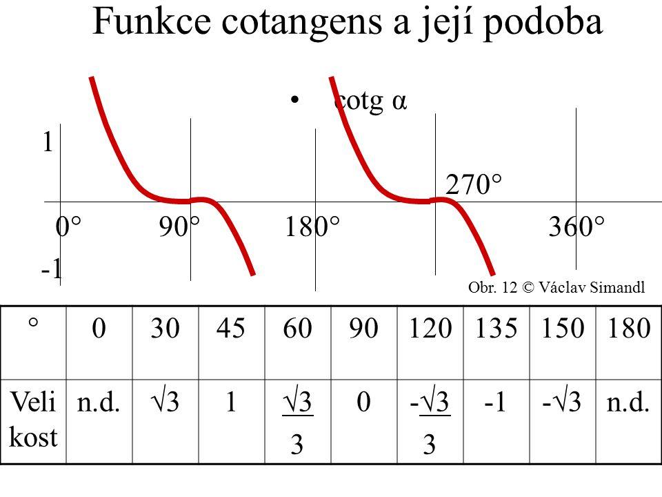 Funkce cotangens a její podoba cotg α 1 270° 0° 90° 180° 360° -1 °030456090120135150180 Veli kost n.d.√31 3 0-√3 3 -√3 n.d. Obr. 12 © Václav Simandl