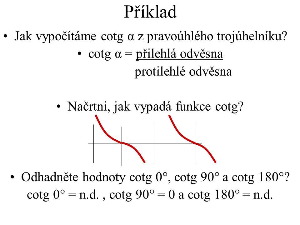 Příklad Jak vypočítáme cotg α z pravoúhlého trojúhelníku? cotg α = přilehlá odvěsna protilehlé odvěsna Načrtni, jak vypadá funkce cotg? Odhadněte hodn