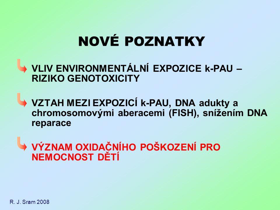 VLIV ENVIRONMENTÁLNÍ EXPOZICE k-PAU – RIZIKO GENOTOXICITY VZTAH MEZI EXPOZICÍ k-PAU, DNA adukty a chromosomovými aberacemi (FISH), snížením DNA repara