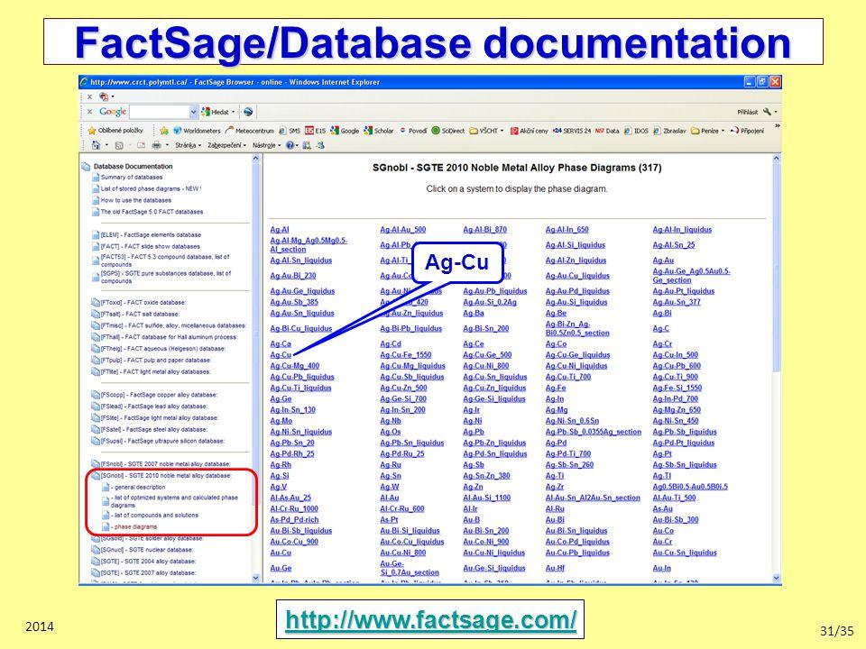 31/35 2014 FactSage/Database documentation http://www.factsage.com/ Ag-Cu