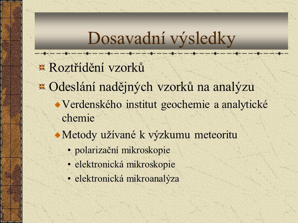 Dosavadní výsledky Roztřídění vzorků Odeslání nadějných vzorků na analýzu Verdenského institut geochemie a analytické chemie Metody užívané k výzkumu