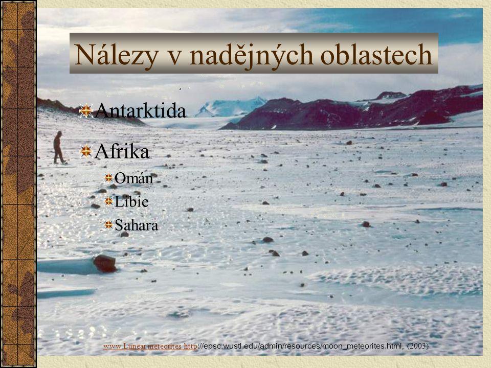 Nálezy v nadějných oblastech Antarktida Afrika Omán Libie Sahara www.Lunear meteorites http www.Lunear meteorites http ://epsc.wustl.edu/admin/resourc