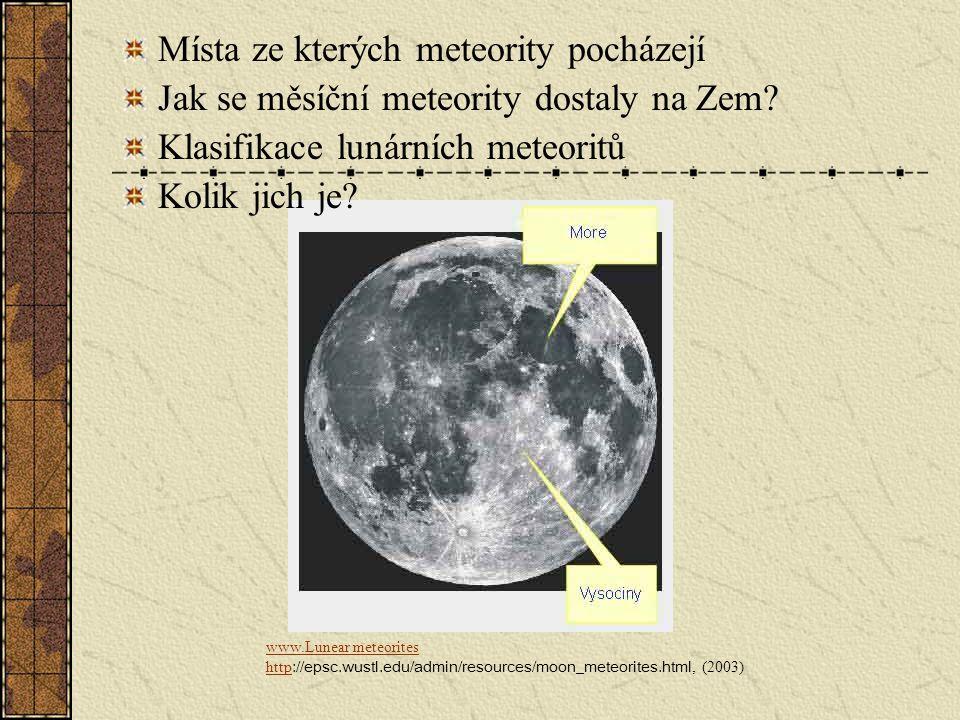 Místa ze kterých meteority pocházejí Jak se měsíční meteority dostaly na Zem? Klasifikace lunárních meteoritů Kolik jich je? www.Lunear meteorites htt