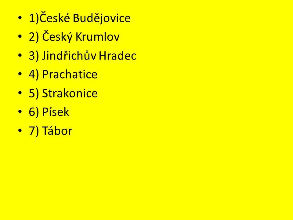 1)České Budějovice 2) Český Krumlov 3) Jindřichův Hradec 4) Prachatice 5) Strakonice 6) Písek 7) Tábor