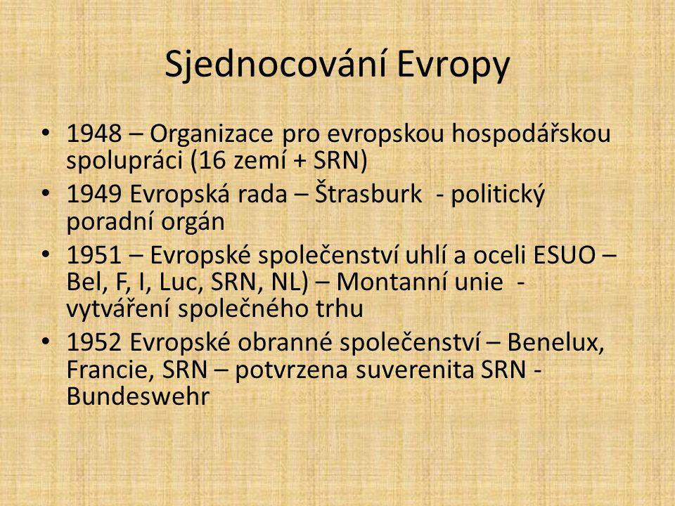 Sjednocování Evropy 1948 – Organizace pro evropskou hospodářskou spolupráci (16 zemí + SRN) 1949 Evropská rada – Štrasburk - politický poradní orgán 1