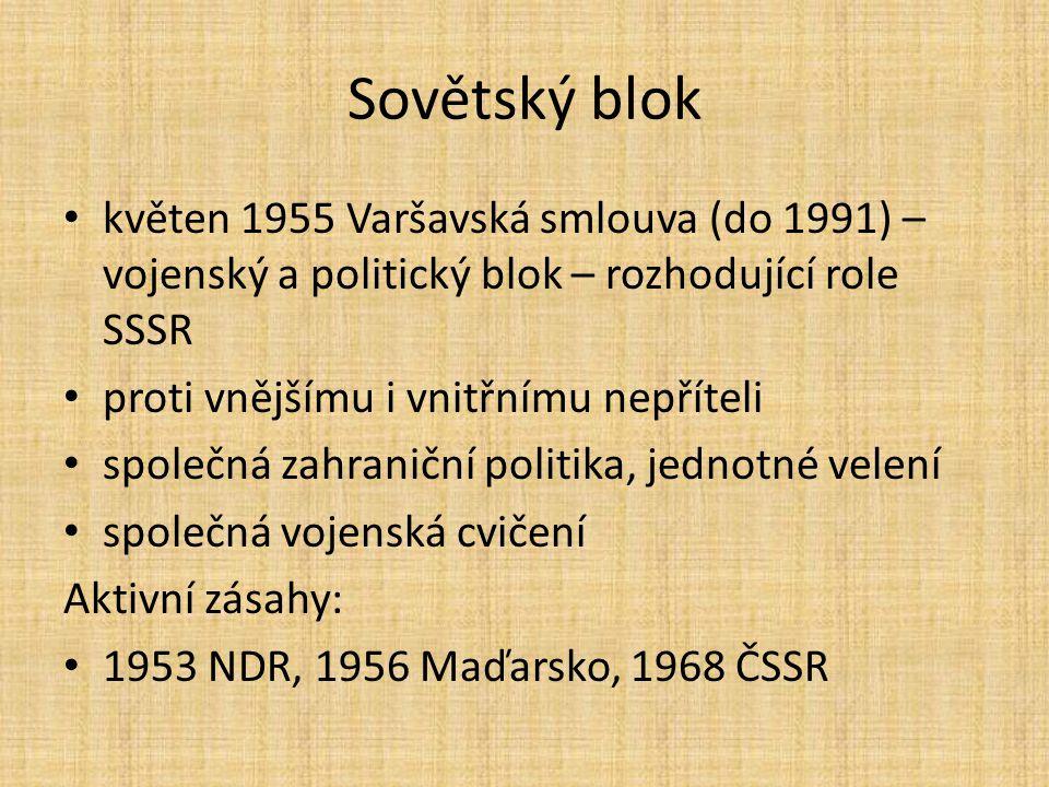 Sovětský blok květen 1955 Varšavská smlouva (do 1991) – vojenský a politický blok – rozhodující role SSSR proti vnějšímu i vnitřnímu nepříteli společn